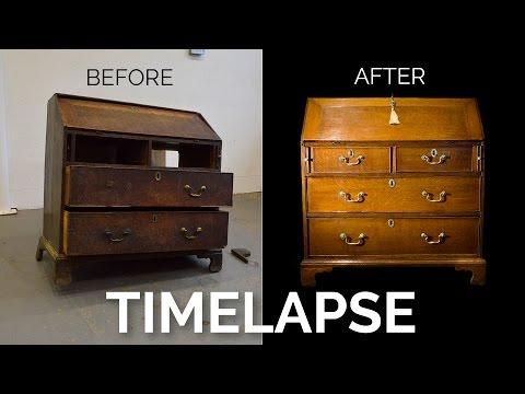 Timelapse Restoration of an Antique Georgian Oak Bureau - Before and After