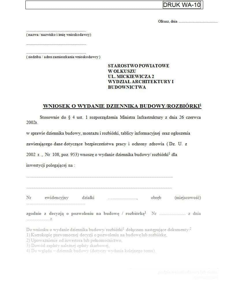 Przykładowy wniosek o wydanie dziennika budowy