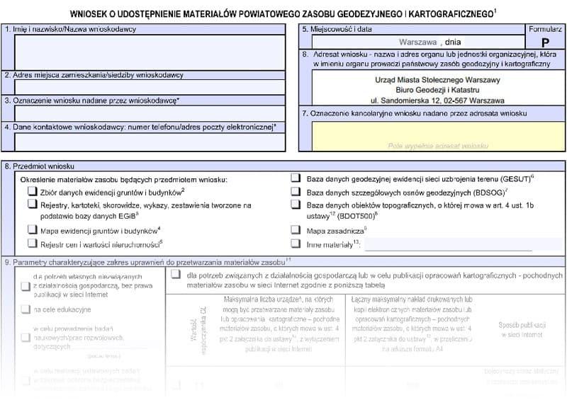 Wniosek o udostępnienie mapy ewidencji gruntów i budynków lub mapy zasadniczej