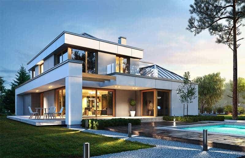 Dom z płaskim dachem