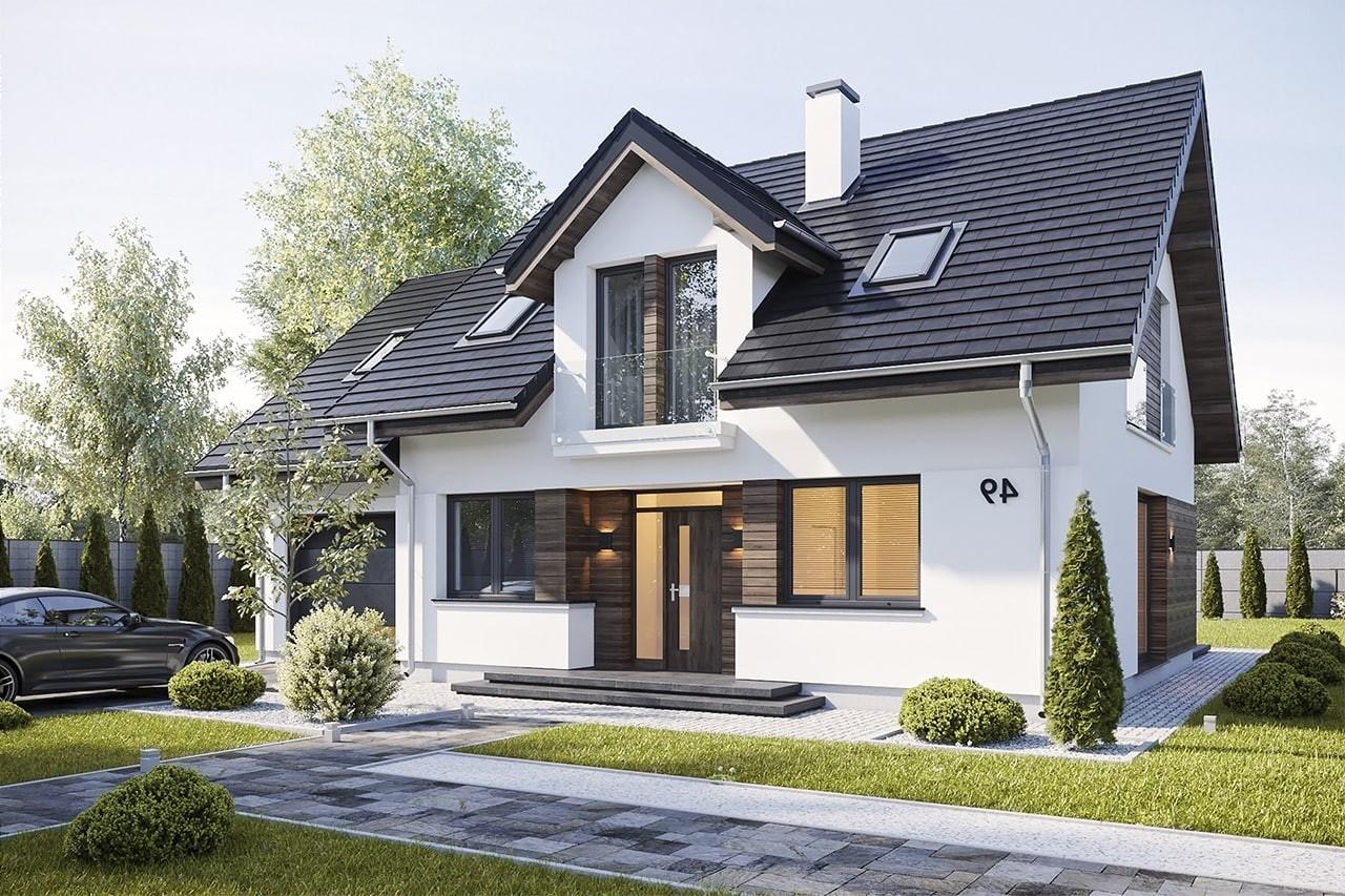 Projekt domu Narcyz 3 - wizualizacja frontu odbicie lustrzane