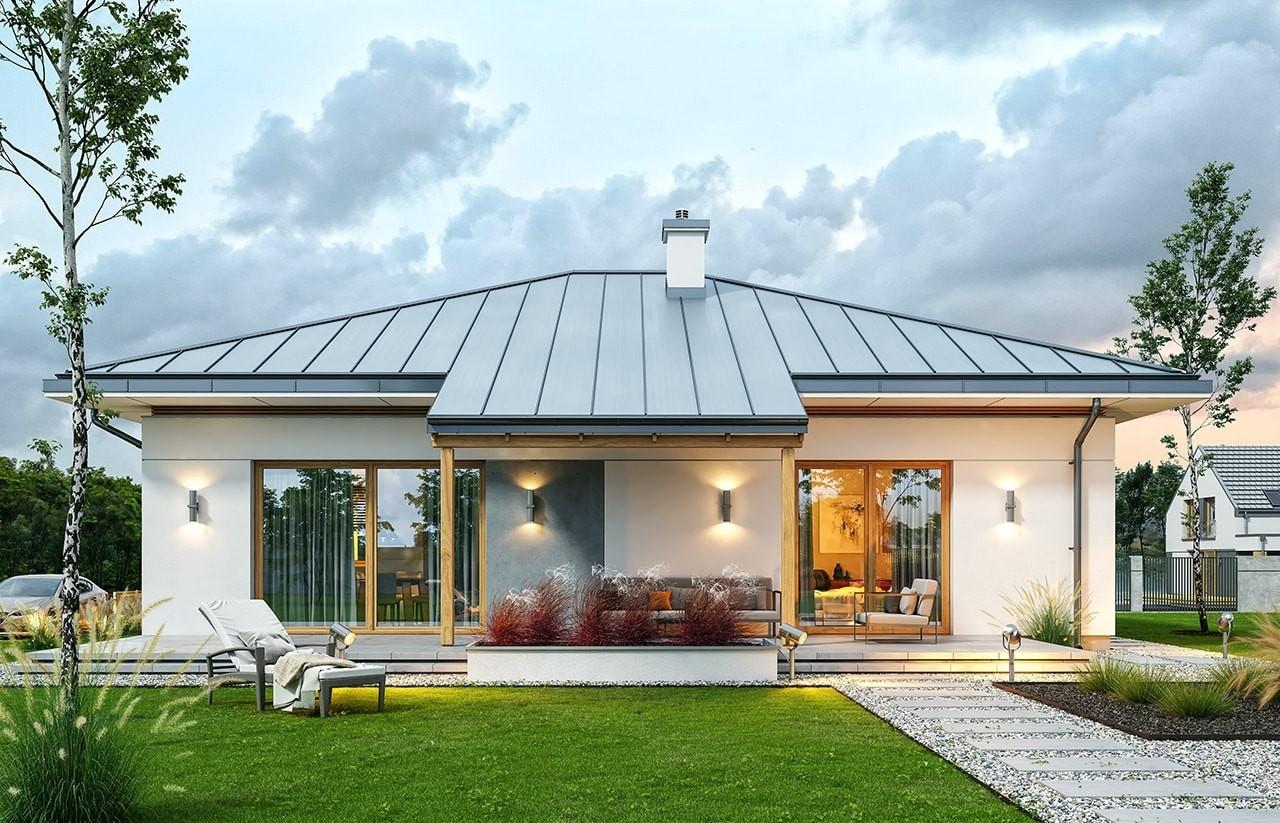 Projekt domu Wspaniały 3 - wizualizacja tylna odbicie lustrzane