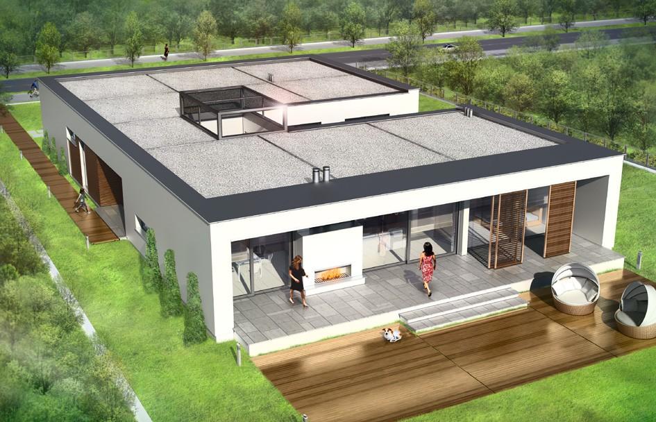Projekt domu Willa Atrium odbicie lustrzane