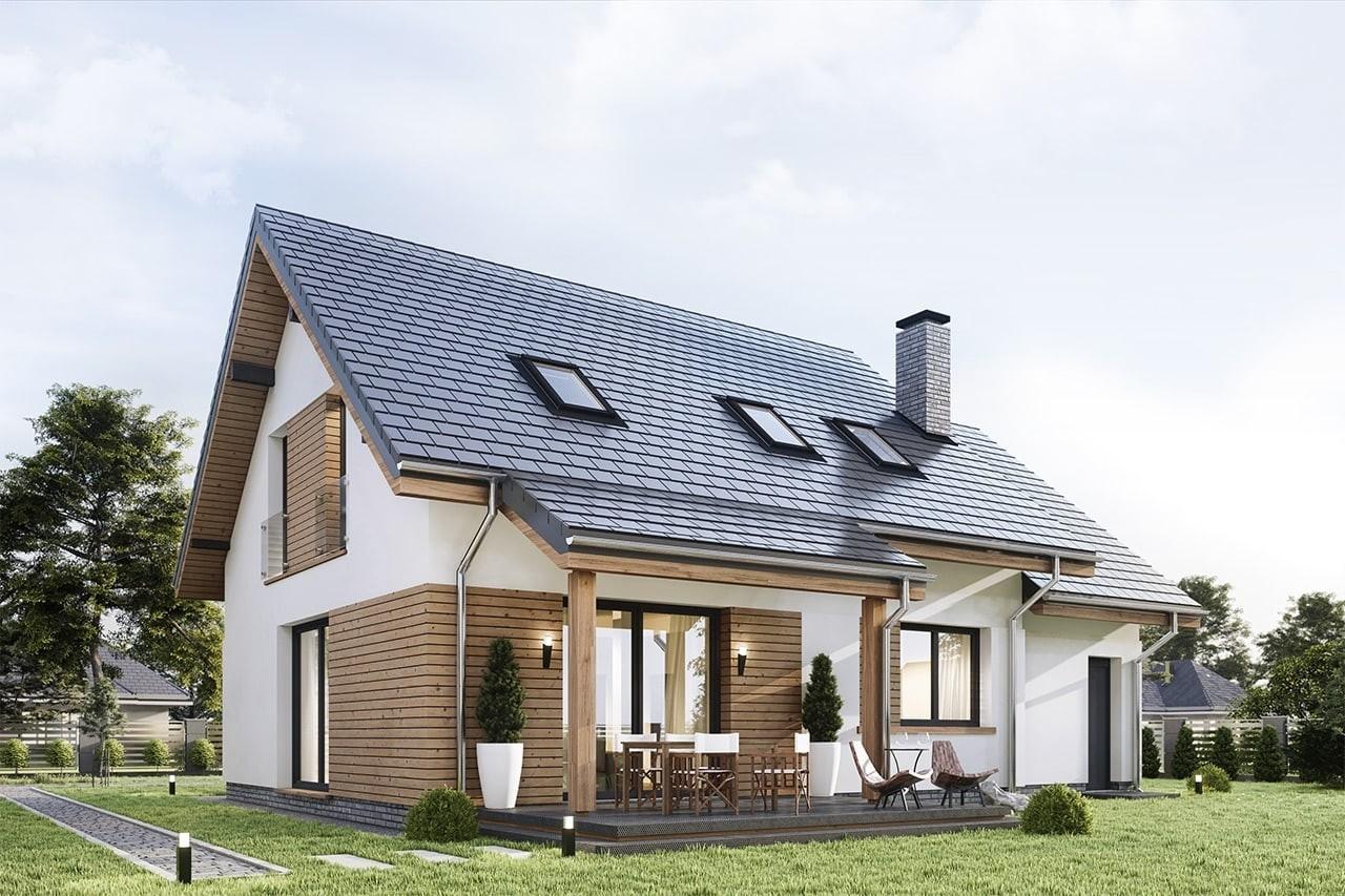 Projekt domu Narcyz 4 - wizualizacja tylna odbicie lustrzane