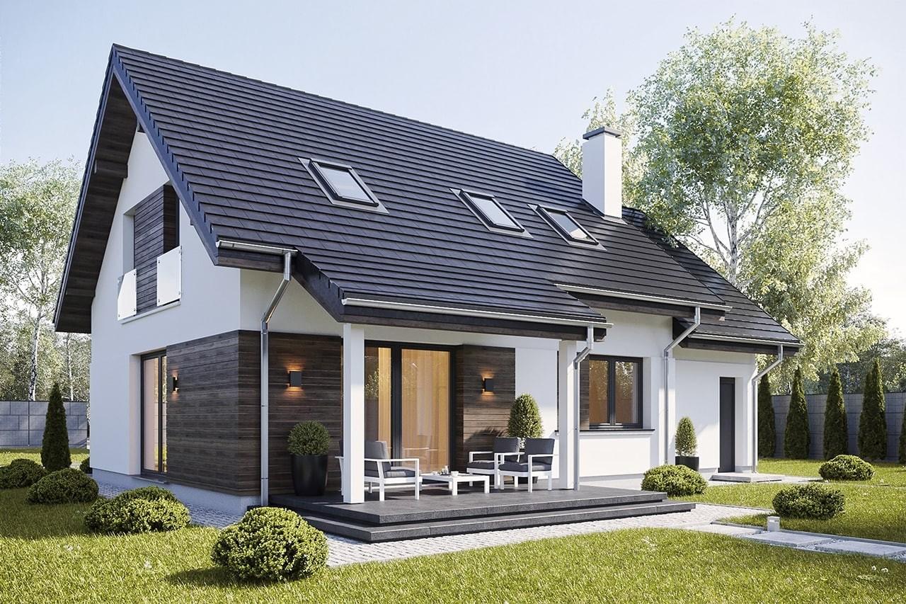 Projekt domu Narcyz 3 - wizualizacja tylna odbicie lustrzane