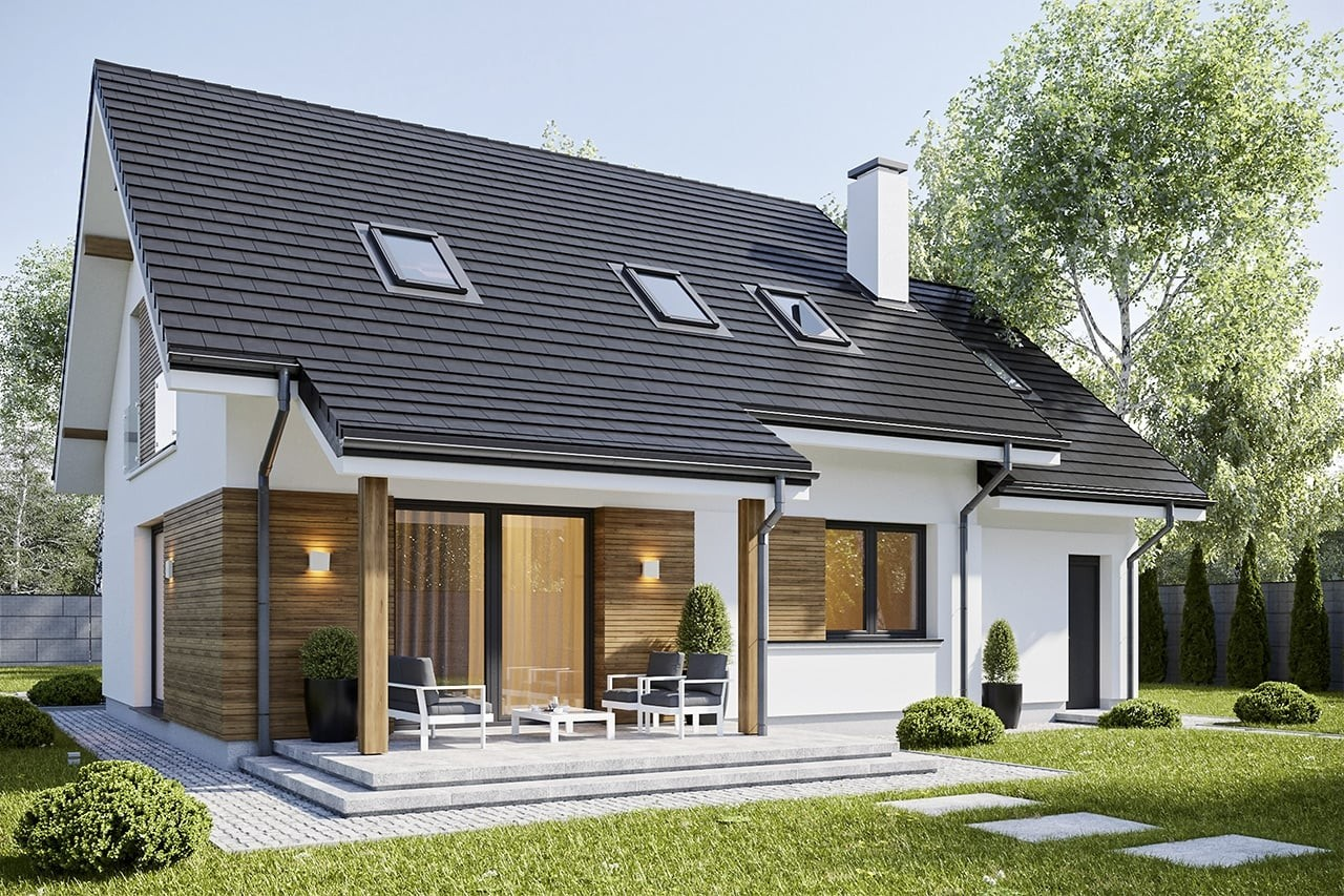 Projekt domu Narcyz - wizualizacja tylna odbicie lustrzane