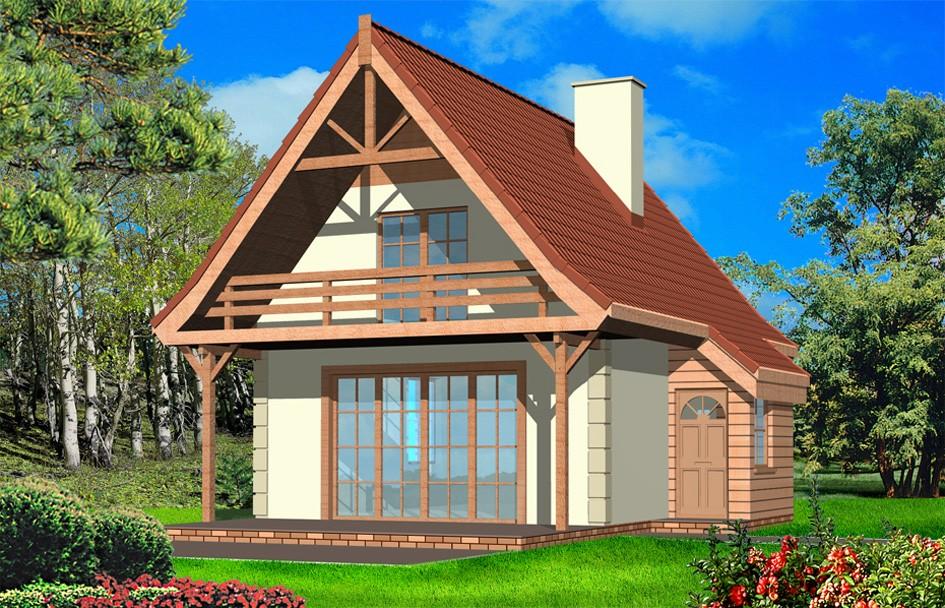Projekt domu Chatka - wizualizacja tylna odbicie lustrzane