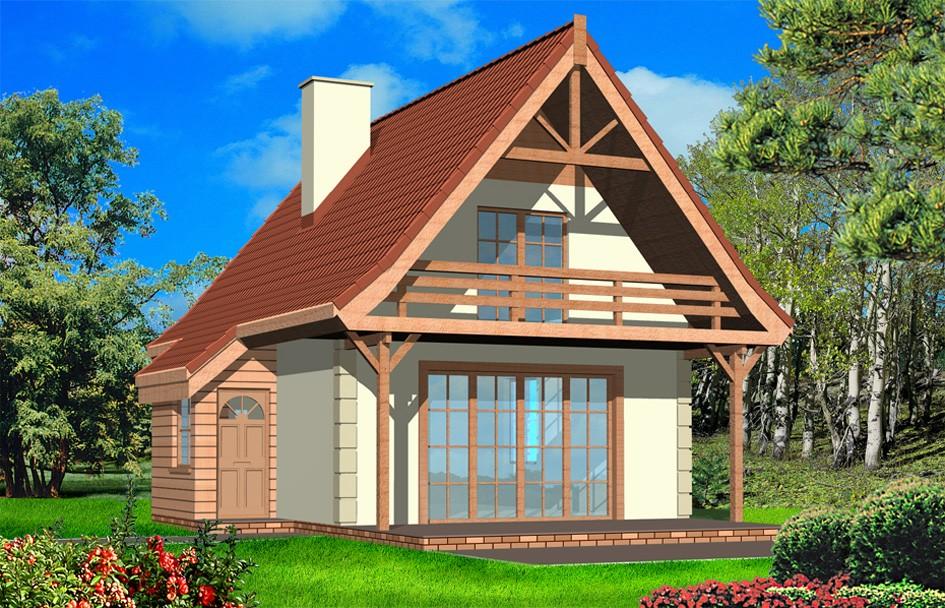 Projekt domu Chatka - wizualizacja tylna