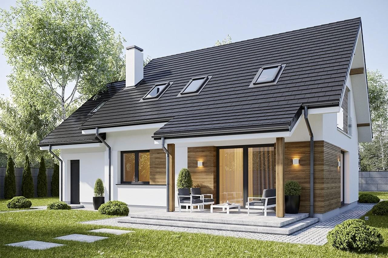 Projekt domu Narcyz - wizualizacja tylna