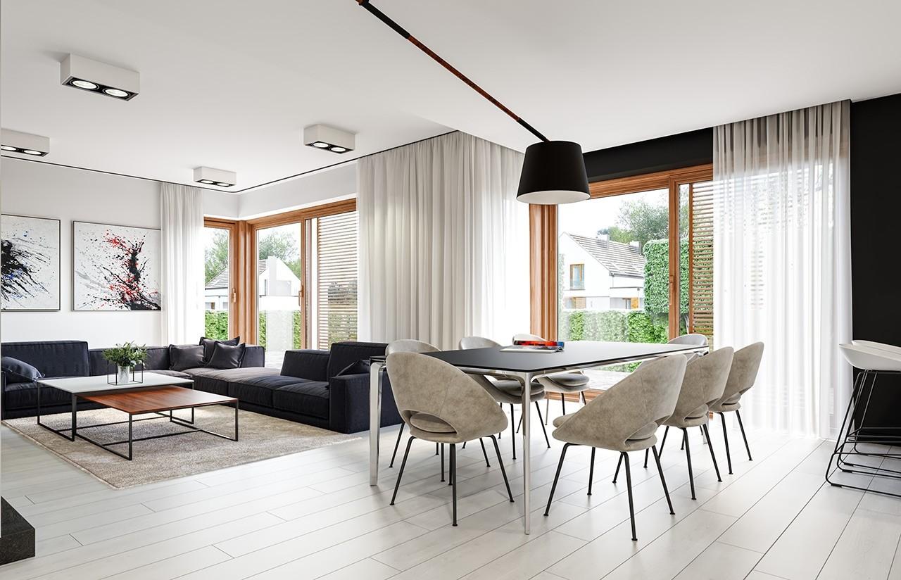 Projekt domu Wąski - wnętrze odbicie lustrzane