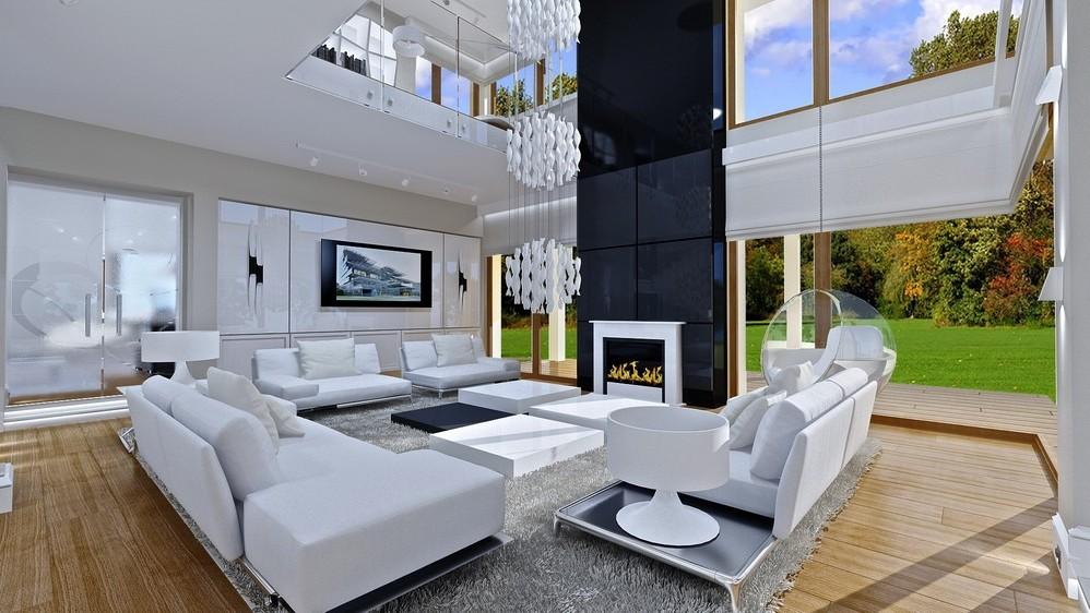 Wnętrze domu Dom z widokiem odbicie lustrzane