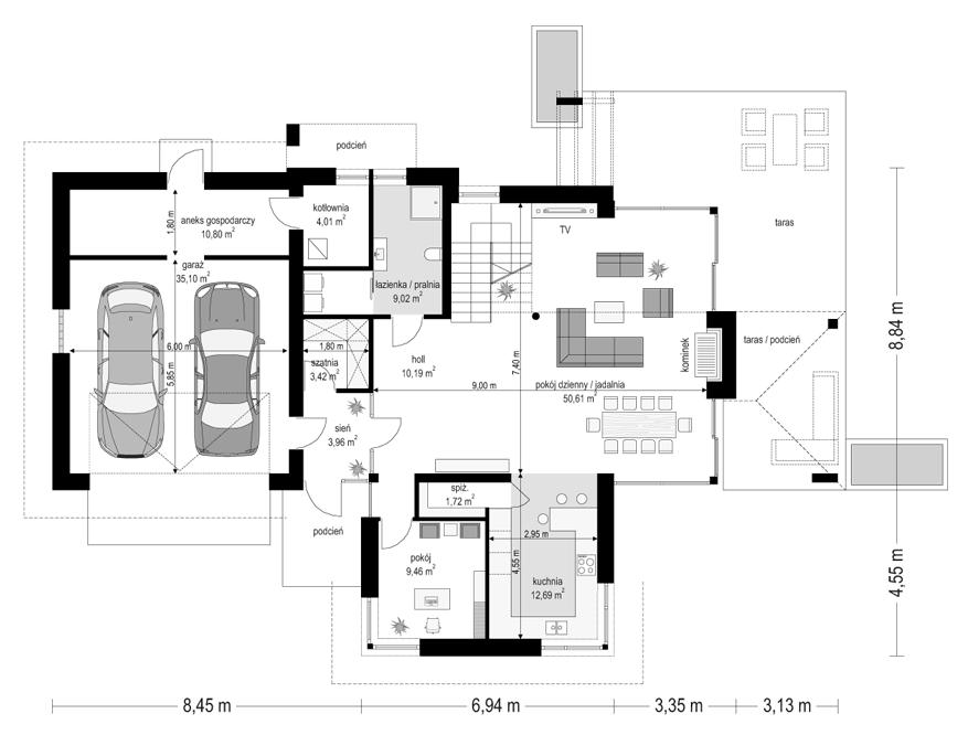 Dom z widokiem 6 - rzut parteru odbicie lustrzane