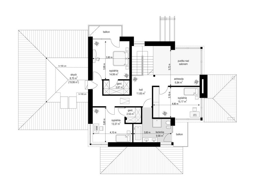 Dom z widokiem 6 - rzut piętra odbicie lustrzane