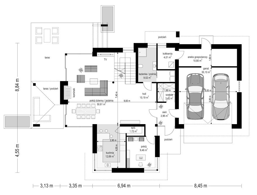Dom z widokiem 6 - rzut parteru
