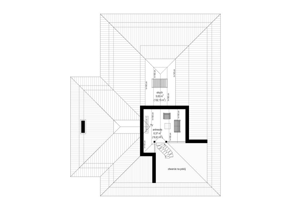 Rezydencja z widokiem - rzut antresoli odbicie lustrzane