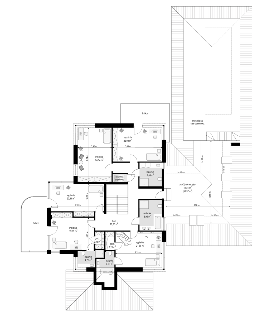 Rezydencja z widokiem - rzut piętra odbicie lustrzane