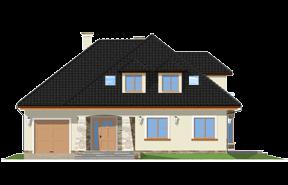 Projekt domu Agnieszka 2 - OLEJ - wizualizacja frontowa odbicie lustrzane