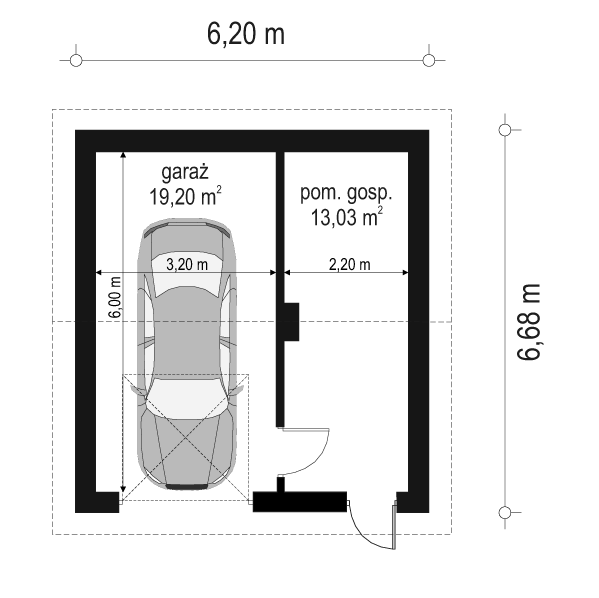 Garaż BG02 - rzut parteru odbicie lustrzane