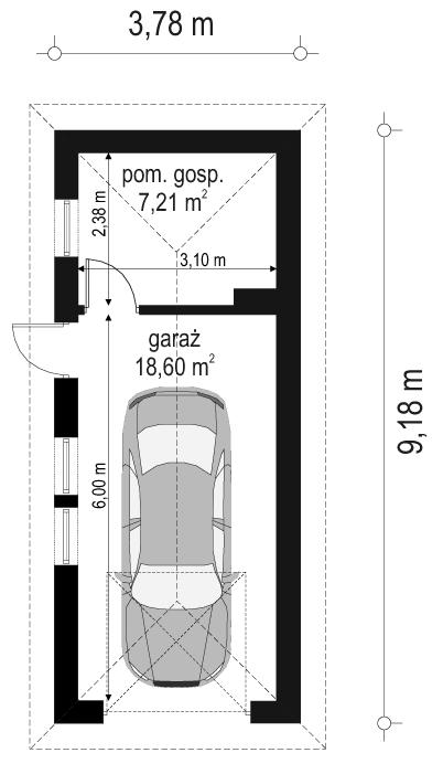 Garaż BG05 - rzut parteru odbicie lustrzane