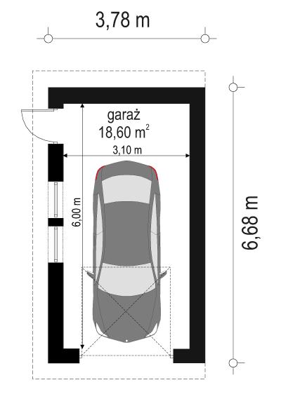 Garaż BG09 - rzut parteru odbicie lustrzane