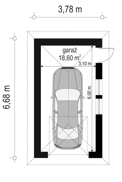 Garaż BG10 - rzut parteru odbicie lustrzane