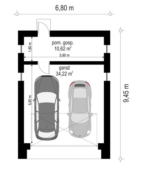 Garaż BG11 - rzut parteru odbicie lustrzane