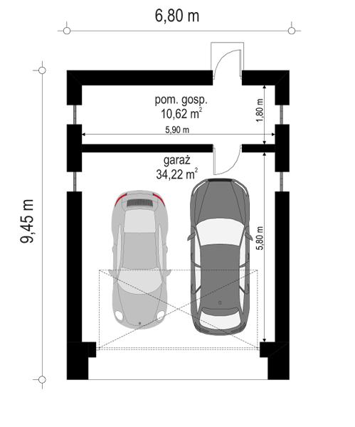 Garaż BG11 - rzut parteru
