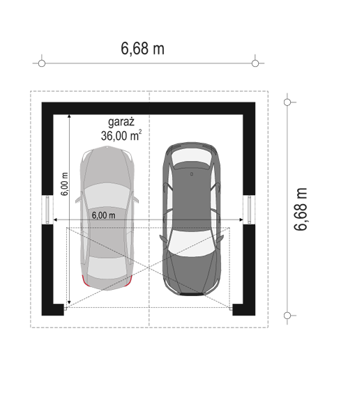 Garaż BG12 - rzut parteru odbicie lustrzane