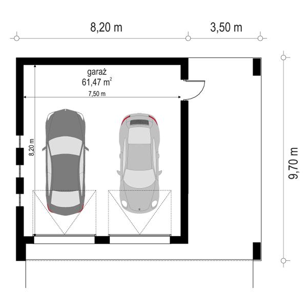 Garaż BG23 - rzut parteru odbicie lustrzane