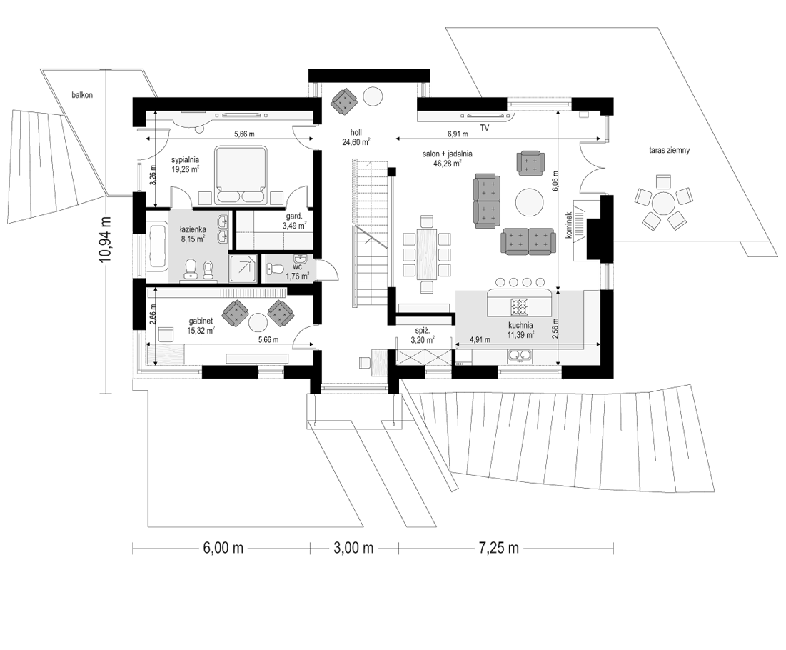 Dom na górce - rzut parteru odbicie lustrzane