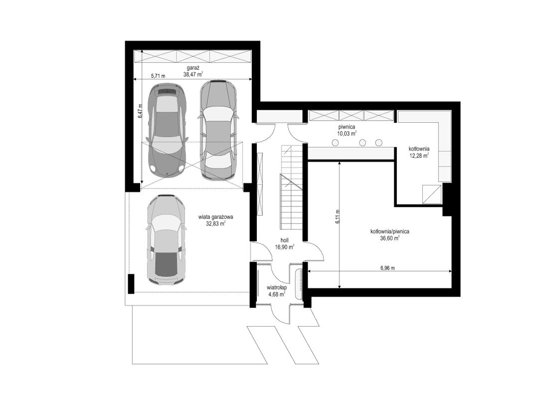 Dom na górce - rzut piwnicy odbicie lustrzane