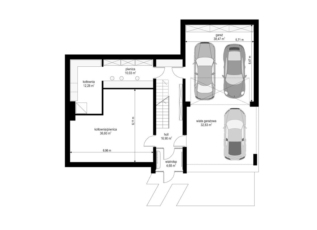 Dom na górce - rzut piwnicy