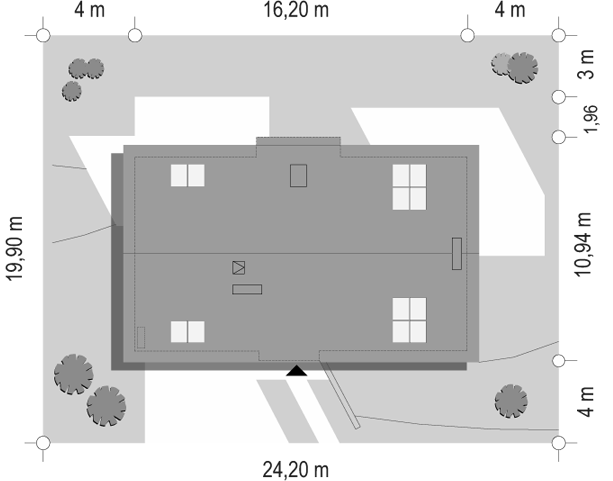 Dom na górce - sytuacja odbicie lustrzane