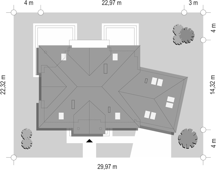 Dom z kolumnami - sytuacja odbicie lustrzane
