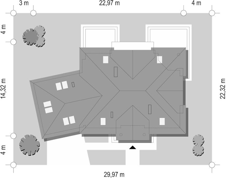 Dom z kolumnami - sytuacja