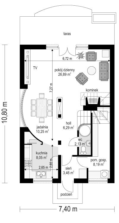 Dom z piętrem - rzut parteru odbicie lustrzane