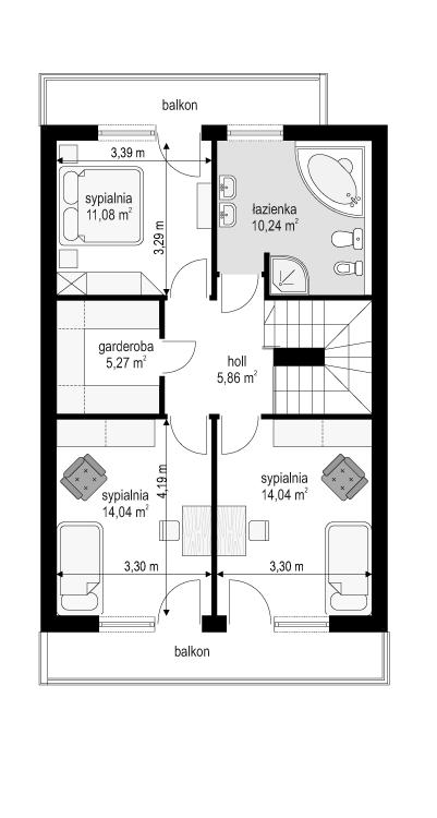 Dom z piętrem - rzut piętra odbicie lustrzane
