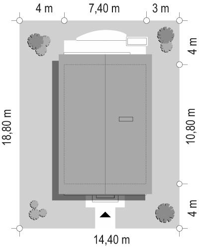 Dom z piętrem - sytuacja odbicie lustrzane
