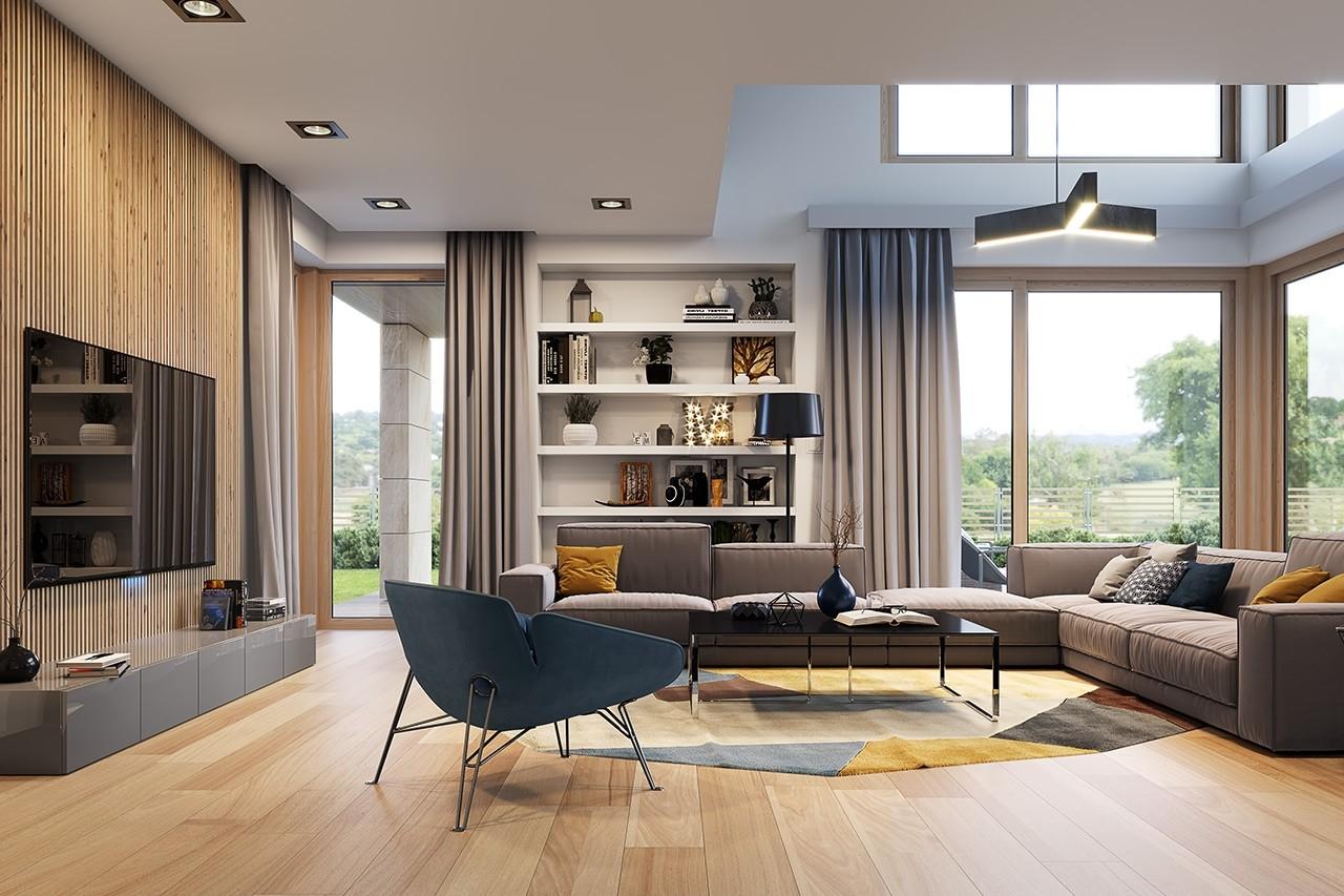 Wizualizacja wnętrza Projektu domu Dom z widokiem 3 wariant B odbicie lustrzane