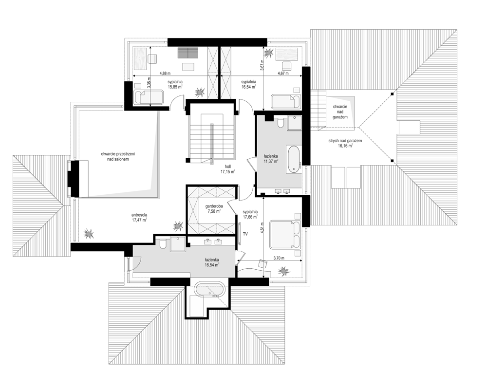Dom z widokiem 4 - rzut piętra odbicie lustrzane