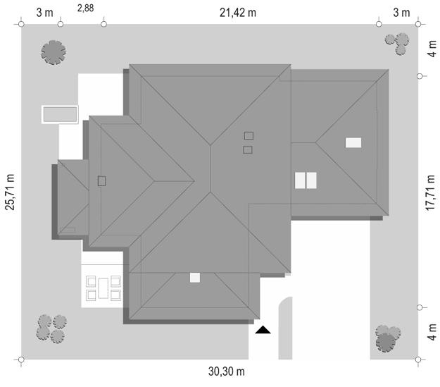 Dom z widokiem 4 - sytuacja odbicie lustrzane