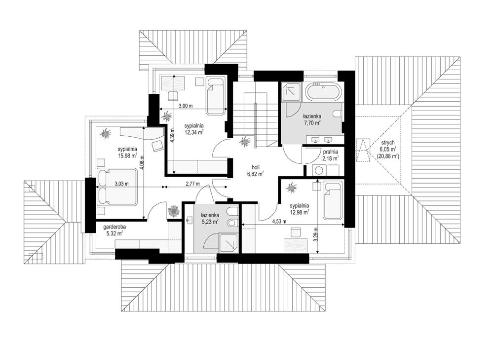 Dom z widokiem 5 - rzut piętra odbicie lustrzane