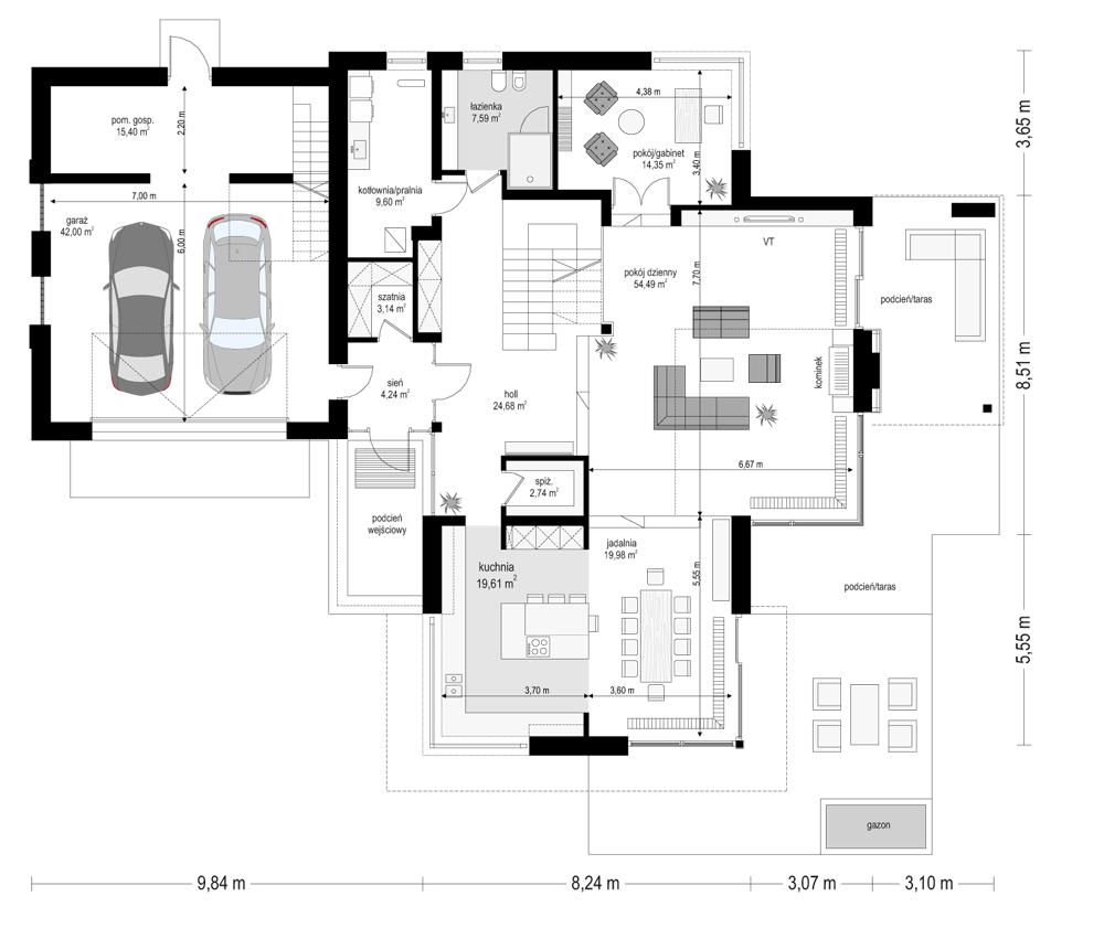 Dom z widokiem - rzut parteru odbicie lustrzane