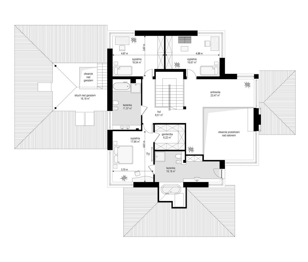 Dom z widokiem - rzut piętra odbicie lustrzane