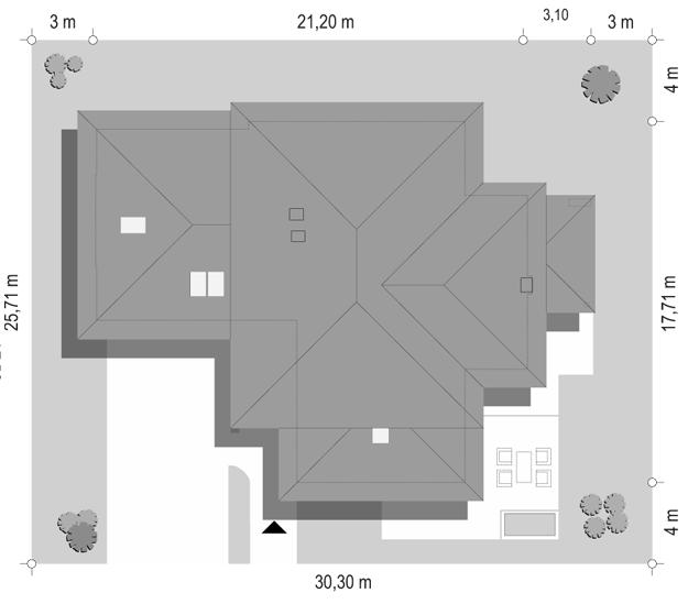 Dom z widokiem - sytuacja odbicie lustrzane