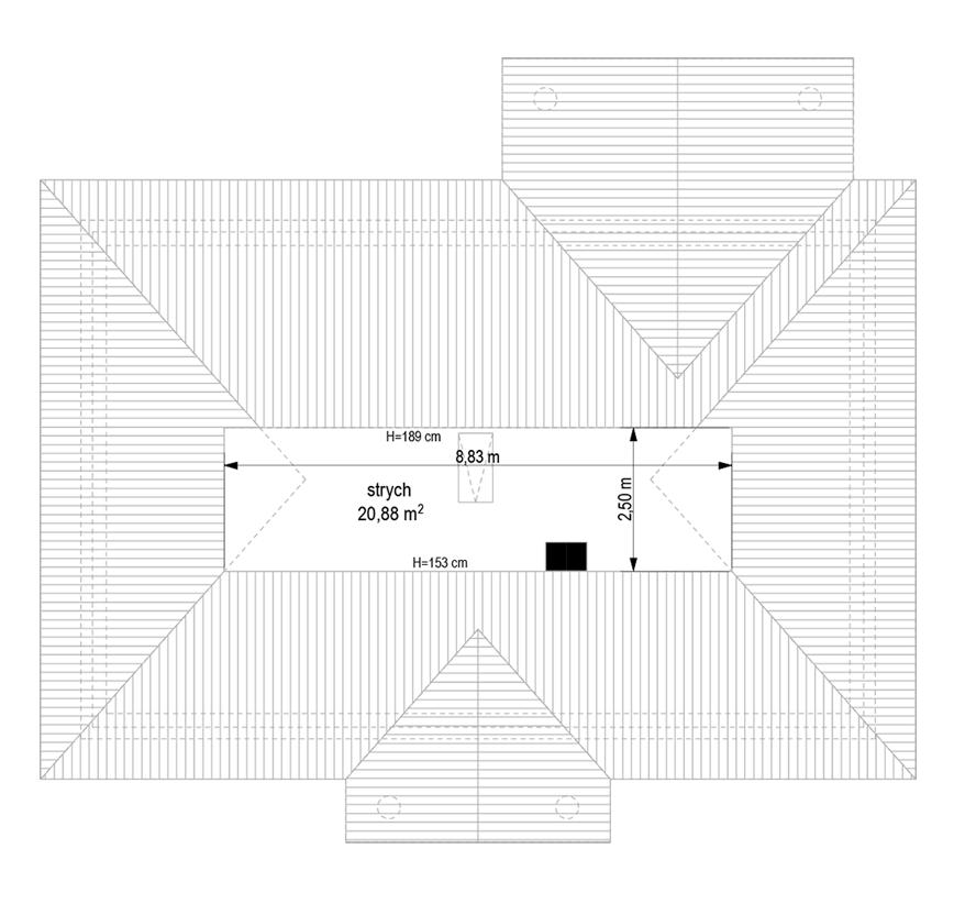 Dom na dębowej wariant B - rzut strychu