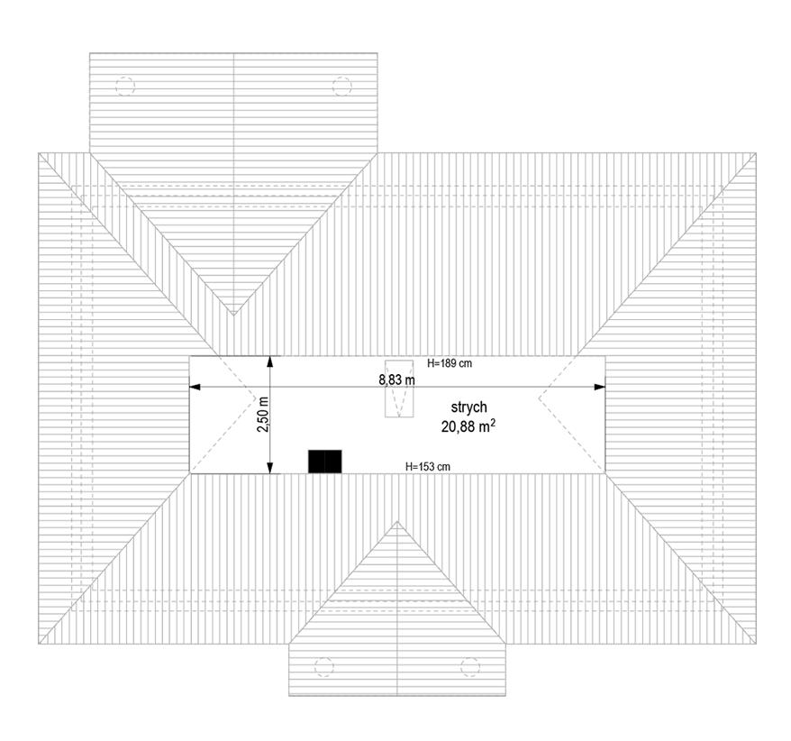 Dom na dębowej wariant B - rzut strychu odbicie lustrzane