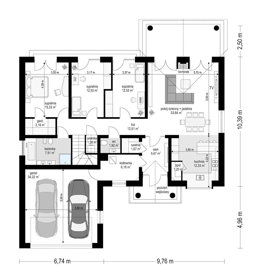 Dom na parkowej 6 wariant B - rzut parteru