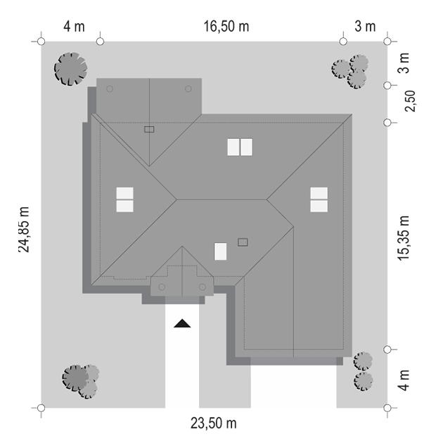 Dom na parkowej 6 wariant B - sytuacja odbicie lustrzane