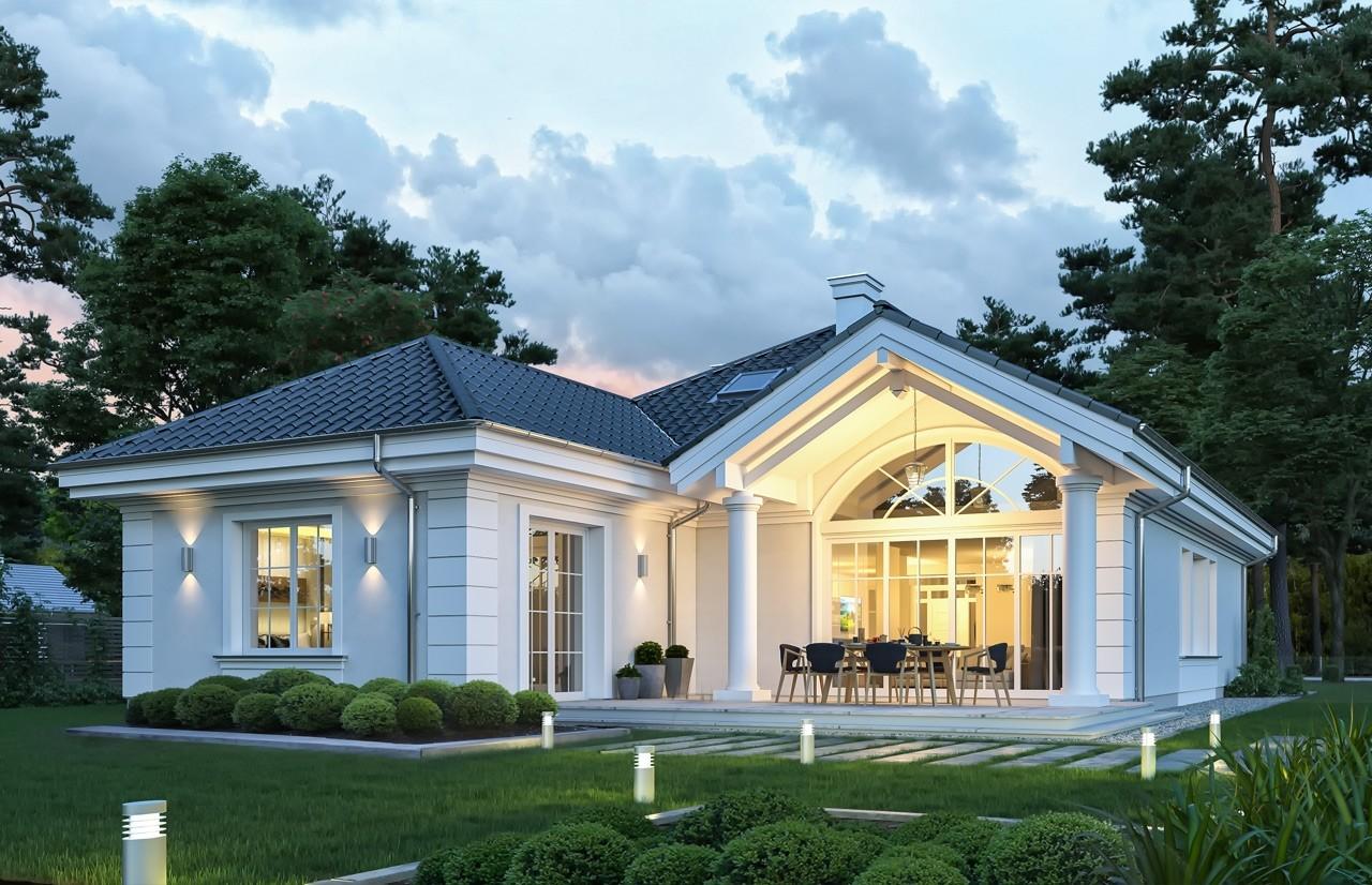 Projekt domu Dom na Parkowej 7 C - wizualizacja tylna odbicie lustrzane